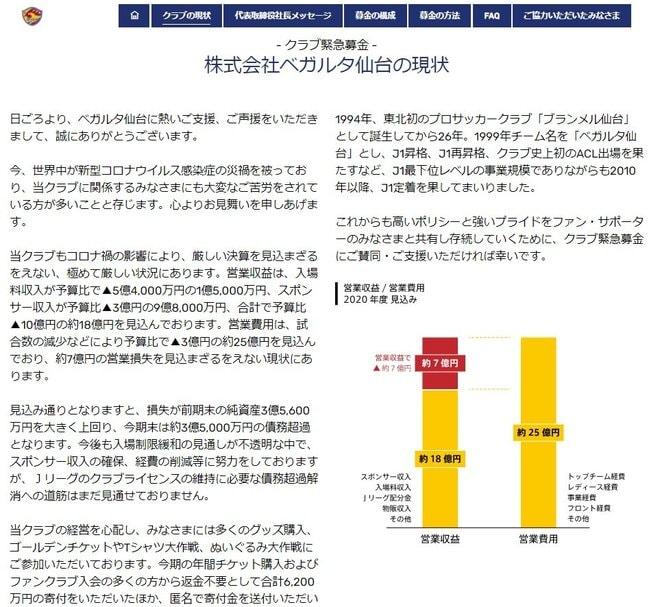 J1仙台「3・5億円の債務超過見込み」公表! 5万8000人以上に「緊急募金」呼びかけの画像001